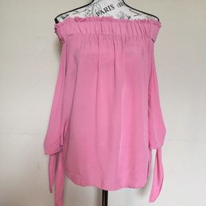 H&M off the shoulder w/sleeve ties Sz 6 pink